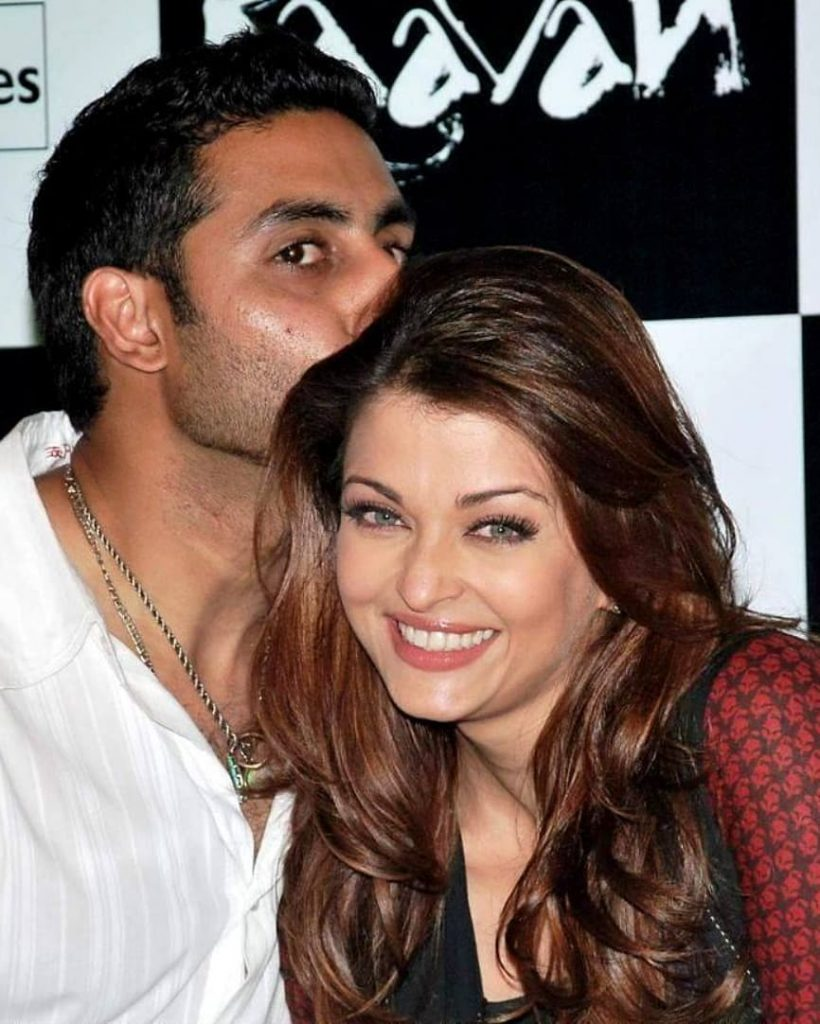 Abhishek bachchan kissing wife Aishwarya Rai