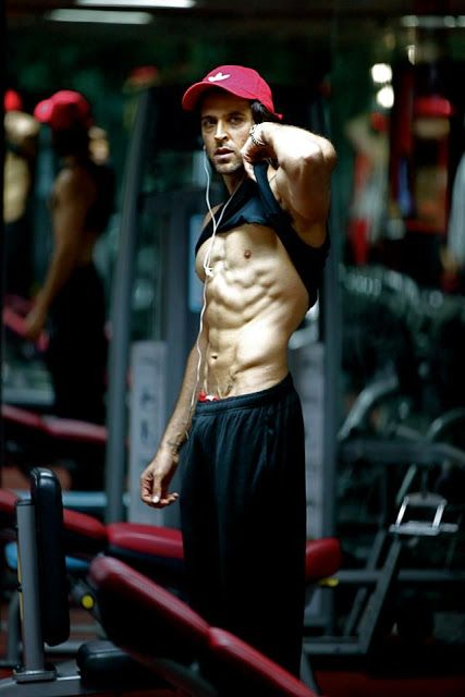 actor Hrithik Roshan working out.