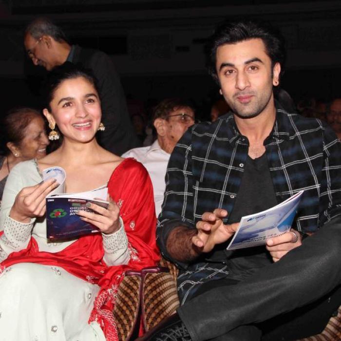 Ranbir and Alia during award function